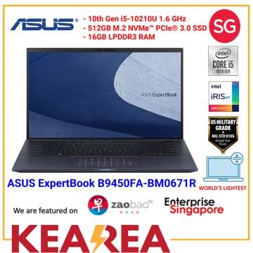 ASUS ExpertBook B9450FA-BM0671R | i5-10210U | 16GB RAM | 512GB PCIE G3X4 SSD | 0.98Kg | Win10 Pro | WiFi 6 | 3 Years International Warranty