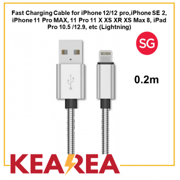 (Lightning) Fast Charging Cable for iPhone 12/12 pro, iPhone SE 2, iPhone 11 Pro MAX, 11 Pro 11 X XS XR XS Max 8, iPad Pro 10.5 /12.9, Durable, Tough, Lightweight, High quality (0.2m)
