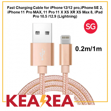(Lightning) Fast Charging Cable for iPhone 12/12 pro, iPhone SE 2, iPhone 11 Pro MAX, 11 Pro 11 X XS XR XS Max 8, iPad Pro 10.5 /12.9, Durable, Tough, Lightweight, High quality (0.2m / 1m)