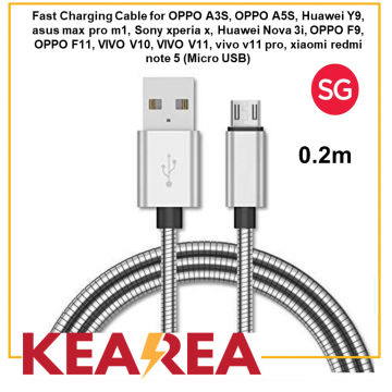 (Micro USB) Fast Charging Cable for Samsung, OPPO, Huawei, ASUS, Sony, VIVO, xiaomi, Durable, Tough, Lightweight, High quality (0.2m)