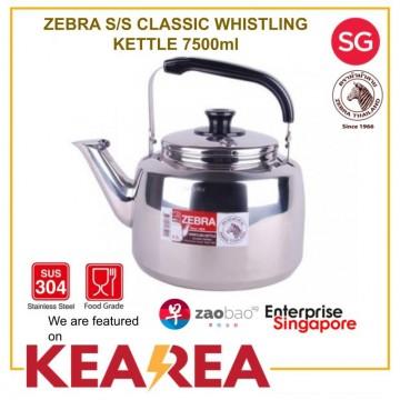 Zebra Classic Stainless Steel Whistling Kettle 7.5L