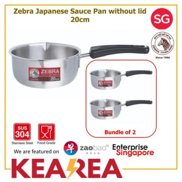 (Bundle of 2) ZEBRA STAINLESS STEEL Japanese Sauce Pan without lid 20cm