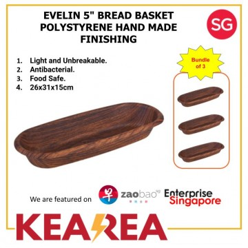 "EVELIN 5"" BREAD BASKET POLYSTYRENE HAND MADE FINISHING - L31xW26xH15cm (Bundle of 3)"