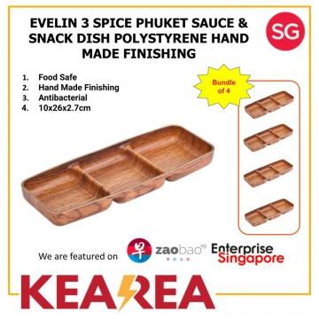 EVELIN 3 SPICE PUKHET SOUCE & SNACK DISH POLYSTYRENE HAND MADE - L26xW10xH2.7cm (Bundle of 4)