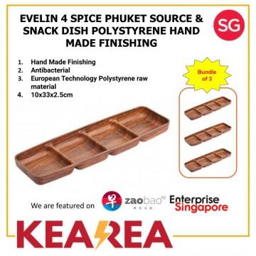 EVELIN 4 SPICE PUKHET SOUCE & SNACK DISH POLYSTYRENE HAND MADE - L33xW10xH2.5cm (Bundle of 3)