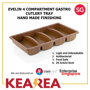 EVELIN 4 COMPARTMENT GASTRO CUTLERY TRAY HAND MADE FINISHING - L52xW29.5xH10cm