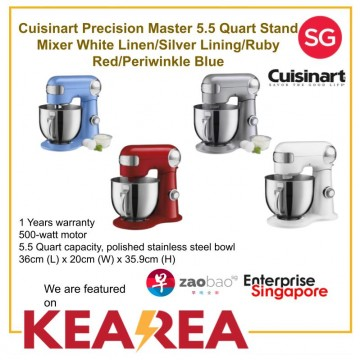 Cuisinart Precision Master 5.5 Quart Stand Mixer White Linen/Silver Lining/Ruby Red/Periwinkle Blue