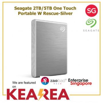 Seagate 2TB/5TB One Touch Portable W Rescue-Silver