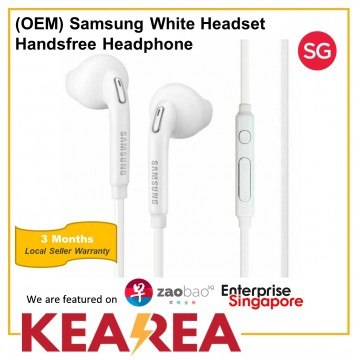 (OEM) Samsung White Headset with 3.5mm Headphone Handsfree Headphone Earphone With Volume Control For Samsung / PC / Laptop / Notebook / Galaxy / Huawei / Xiaomi