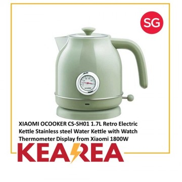 XIAOMI OCOOKER CS-SH01 1.7L Retro Electric Kettle Stainless Steel Water Kettle with Watch Thermometer Display from Xiaomi 1800W