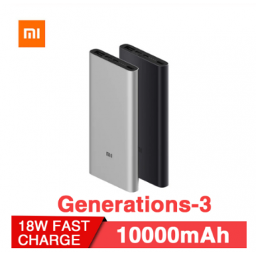Original Xiaomi Mi Power Bank 3 10000mAh USB-C Two-way Fast Quick Charge 18W Battery Travel Powerbank for iPhone XS PLM12ZM