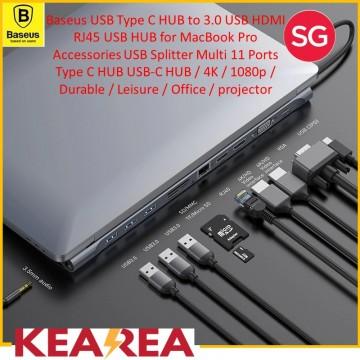 Baseus Enjoyment Series Type-C to 3.0 USB HDMI RJ45 USB HUB Adapter / 4K / 1080p / Durable / Leisure / Office / projector