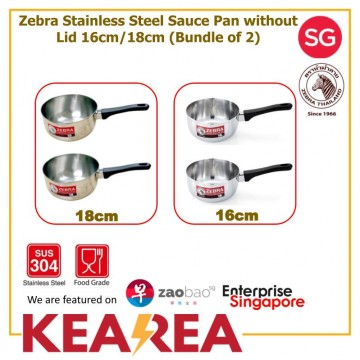 (Bundle of 2) Zebra Stainless Steel 16cm/18cm Sauce Pan without Lid