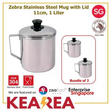 (Bundle of 2) Zebra Stainless Steel Mug 1 Liter, 11cm with Lid